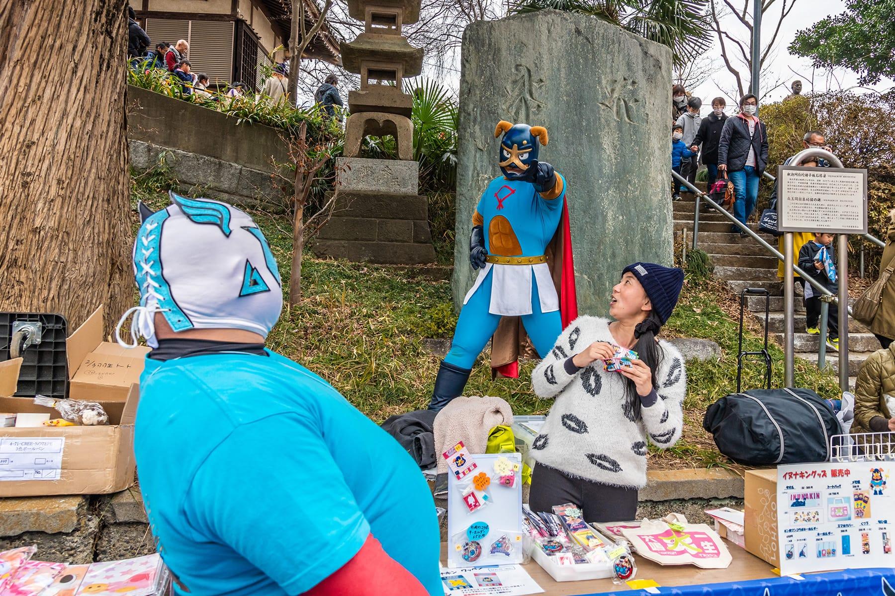 キャラクターの豆まき大会【羽生毘沙門堂|羽生市】